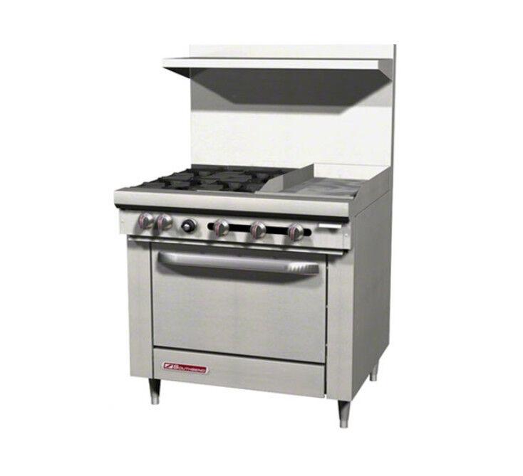 """Southbend S36d-1gr 36"""" Gas 4 Burner Restaurant Range Std Oven 12"""" Griddle Right"""