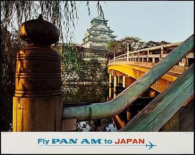 Pan Am Airlines Japan Osaka Castle Vintage Large Travel Poster  1965