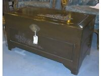 **REDUCED** Hand Carved Chinese Teak Ottoman Coffer Linen Chest Or Trunk Blanket Box