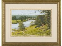 Ribchester Bridge from Hargreaves Farm, at Ribchester (2005) by W.Geoff Rollinson (Acrylic Painting)