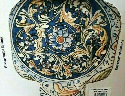 Set Piatti Da 12 Pezzi Fine Ceramica Italiana Piatto Fondo Piano Servizio Tavola