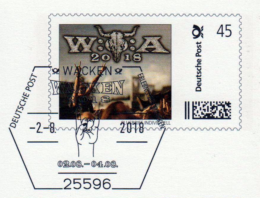 Wacken Open Air 2018 - Pluskarte der Dt. Post - Auflage 1.500 Stück - RARITÄT!