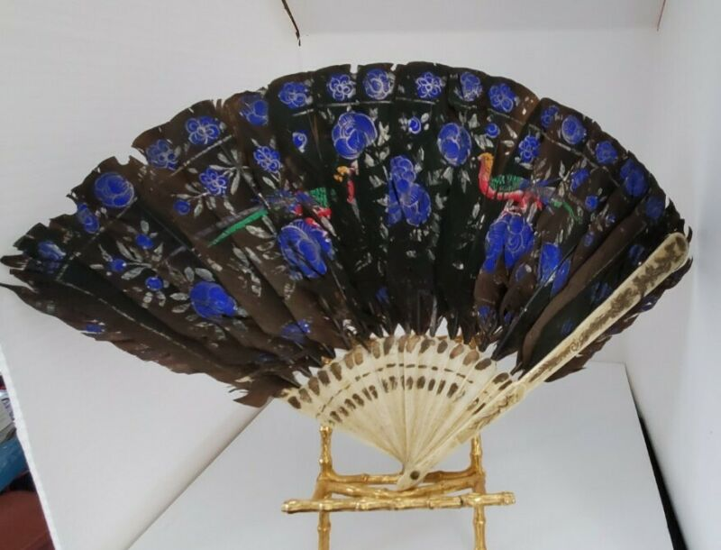 """Handpainted Black Feather Fan Antique 9"""" celluloid spines"""