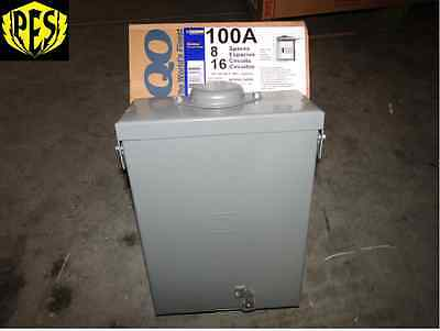NIB SQUARE D QO816L100RB 100 AMP SINGLE PHASE N3 OUTDOOR LOAD CENTER WITH COVER