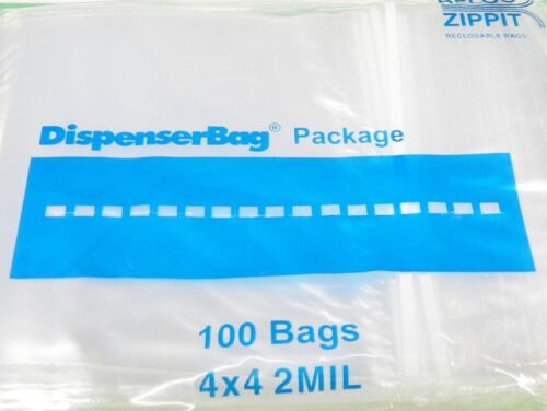 1000 Reloc Zippit 4x4 2mil Clear Zip Seal Bags Square Reclosable  Zip Slide Lock