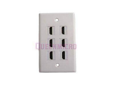 Single Gang 1-Gang 6 HDMI Port 4K 1080P HD 3D Cable Coupler Extender Wall Plate for sale  Shipping to India