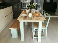 Rustic table and matching bench