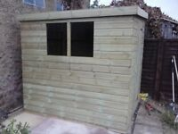 9 x 5 'OLD BEXLEY'' NEW ALL WOOD GARDEN SHED, T&G, TREATED, £510 INC DELIVERY & INSTALLATION