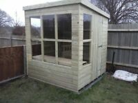 6 x 6 NEW ALL WOOD POTTING SHED, T&G, TREATED, £450 INC DELIVERY & INSTALLATION