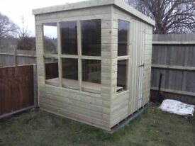 7 x 5 NEW ALL WOOD POTTING SHED, T&G, TREATED, £525 INC DELIVERY & INSTALLATION + ONE FREE SHELF