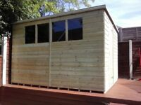 10 x 8 'BROMLEY' NEW, ALL WOOD GARDEN SHED, T&G, TREATED, £680 INC DELIVERY & INSTALLATION