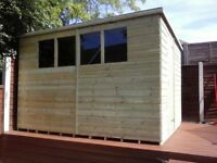 10 x 8 'BROMLEY' NEW, ALL WOOD GARDEN SHED, T & G, TREATED, £680 INC DELIVERY & INSTALLATION