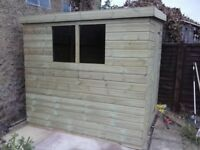 10 x 7 'OLD BEXLEY' NEW ALL WOOD GARDEN SHED, T & G, TREATED, £650 INC DELIVERY & INSTALLATION