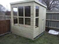 7 x 5 NEW, ALL WOOD POTTING SHED, T & G, TREATED, £499 INC DELIVERY & INSTALLATION