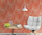 Zebraprint oranje vlies patchwork behang xxf