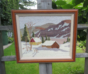 EMBROIDERY (Punch Needle) Framed Picture - Winter Log Cabins
