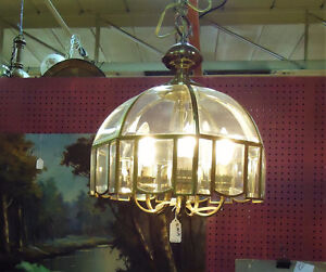 SUPERB GLASS & BRASS CEILING LIGHT & OTHER CEILING FIXTU