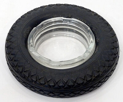 Vintage Goodyear Tire Airwheel Rubber   Glass Advertising Ashtray