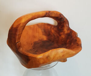 Hand-Carved Wood Bowl/Basket with Handle - $30