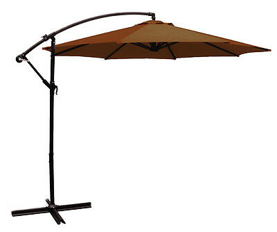 10ft out door deck Patio Umbrella Off set Tilt Cantilever Hanging Canopy brown