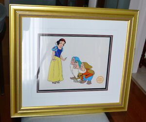 Snow White & 3 Dwarfs - Disney framed Serigraph ready to hang.