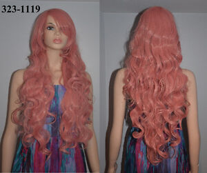 NEW Deluxe 90cm Long Solid Pink Curly Cosplay Wig (323-1119)