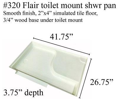 Fleetwood RV shower pan with toilet mount Fiberglass #320 Polar White 42x27