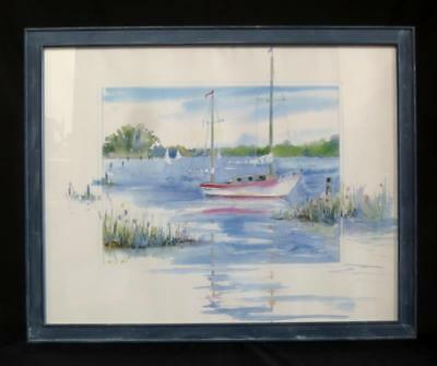 "Sarah Malin Be Calmed Sailboat Watercolor Lithograph Print 30.5"" x 24.5"" tall"