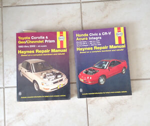 Haynes Repair Manual Toyota Corolla, Honda Civic
