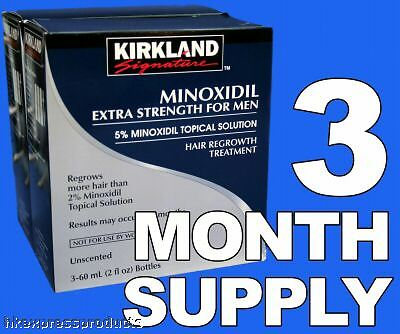Kirkland Minoxidil 5% Extra Strength Men Hair Regrowth Solution 3 Month 03/2023