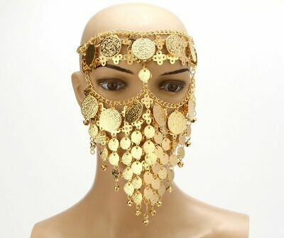 Coin Face Mask Belly Dancing Costume Veil Tribal Arab Gold Plated Accessories - Arabian Costume Accessories