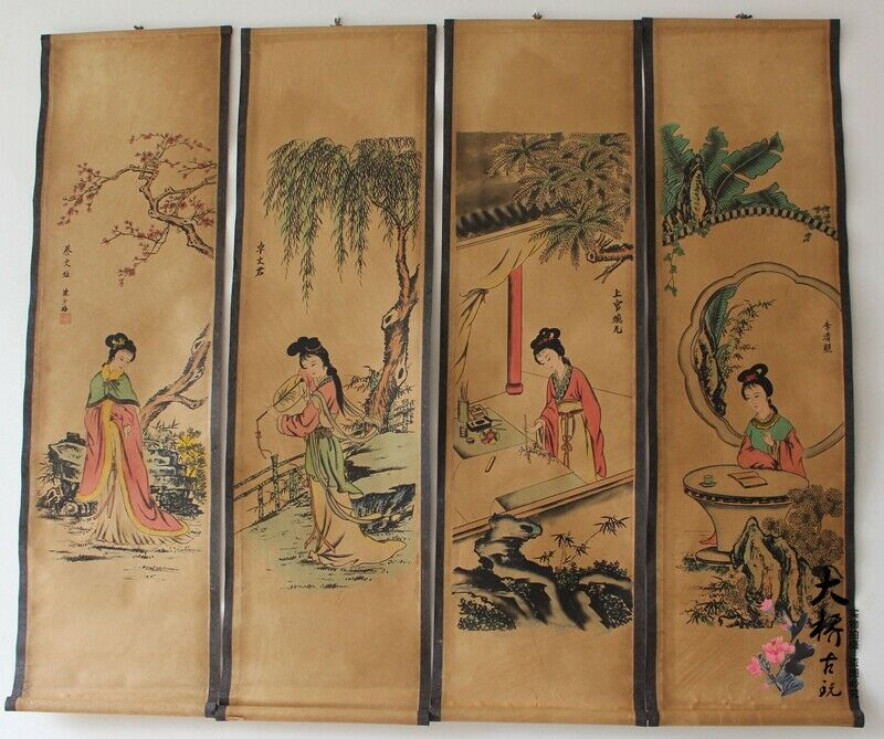 China scroll painting Four screen paintings Middle hall hanging painting