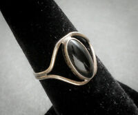 Sterling silver ring with black stone