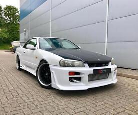 1998 Nissan Skyline R34 2.5 GTT Turbo Manual + WHITE + Body Styling Kit