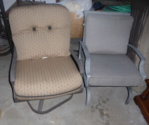 2 (not matching) outdoor swivel and rocking chairs $ 30, $ 20