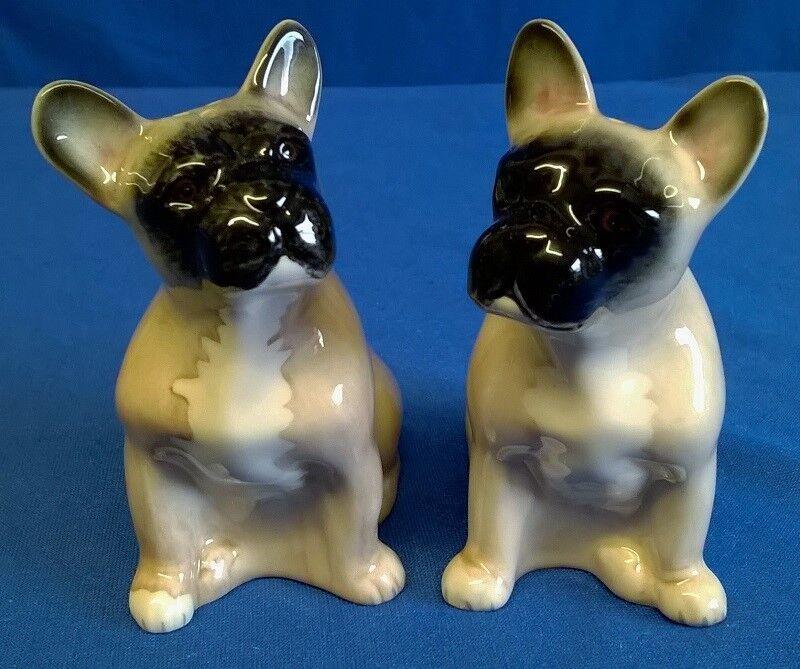 QUAIL CERAMIC FAWN FRENCH BULLDOG DOG SALT & PEPPER POTS CONDIMENT OR CRUET SET