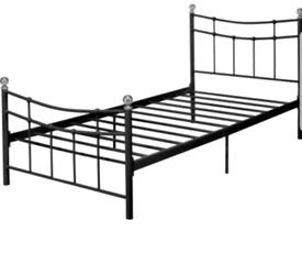 Brand new single black metal bed frame