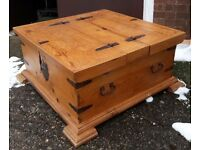 Large Square Pine Storage Trunk Blanket Box Or Chest With Iron Handles