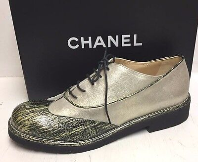 Chanel 16C CC Logo Light Gold Black Lace Up Booties Oxfords Sneakers Shoes 41