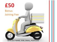 £50 Bonus Immediate Start ! Food delivery work, upto £16 ph +fuel+Tips. LONDON, MAIDSTONE,COLCHESTER