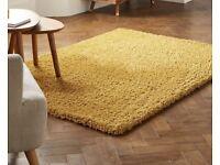 Mustard yellow twisted shag rug