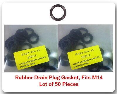 LOT 50 RUBBER OIL DRAIN PLUG WASHERS GASKETS 14MM FITS: AUDI VW GM MAZDA SAAB &