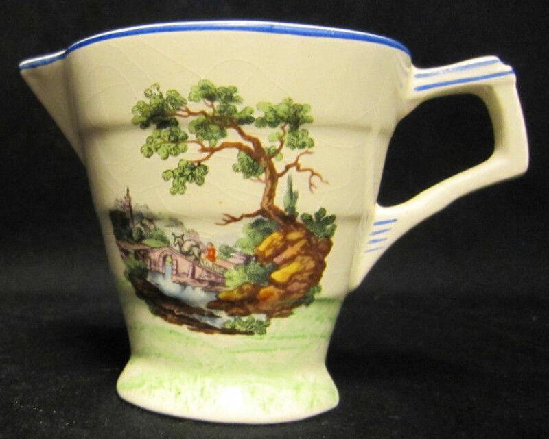 H & K Tunstall 4 oz Pitcher Made in England Bridge Scene and flowers