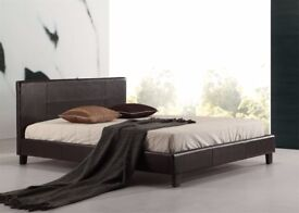 BLACK AND BROWN BEDS!! --BRAND NEW DOUBLE LEATHER BED 1000 POCKET SPRUNG MATTRESS