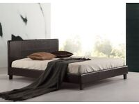 ''LIMITED STOCK OFFER '' -- Double Leather Bed + Deep Quilted Mattress -- Very Cheap Price