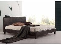 ★★ FAUX LEATHER BED ★★ 3FT SINGLE 4FT SMALL DOUBLE 4FT6 DOUBLE 5FT KING STRONG FRAME