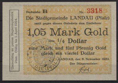 [20324] - GOLD-NOTGELD LANDAU (PFALZ), Stadt, 1,05 Goldmark, 06.11.1923, Müller