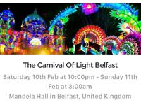 Festival of light tickets x2. Sat 10th feb. 10pm to 3am. Mandela Hall, Belfast. 25pounds ONO
