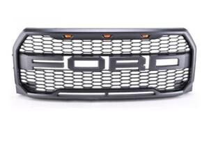 Raptor Style Front Grille with LED's for 2015 2016 2017 F150 - Includes F & R letters