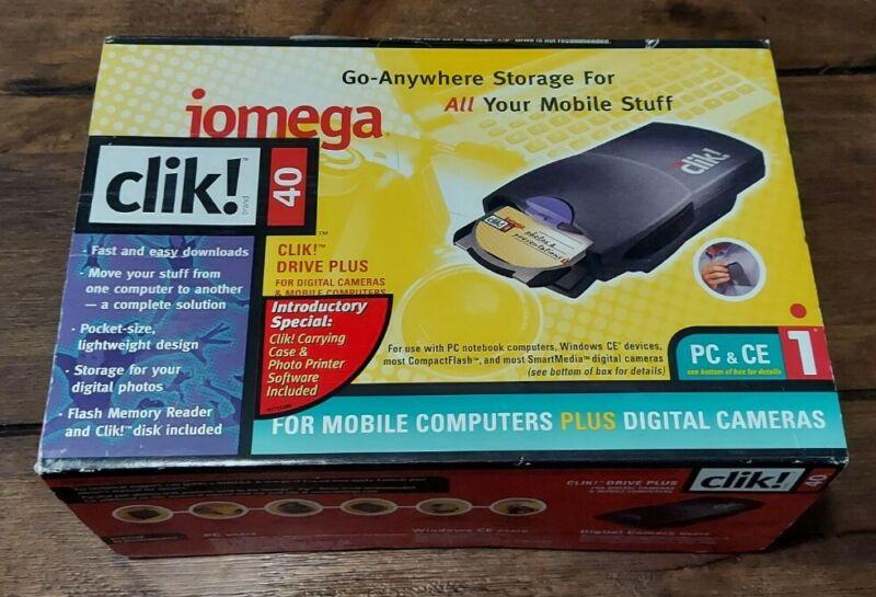 Vintage Iomega CliK! 40MB External Drive For PC New Open Box Pocket Size Light